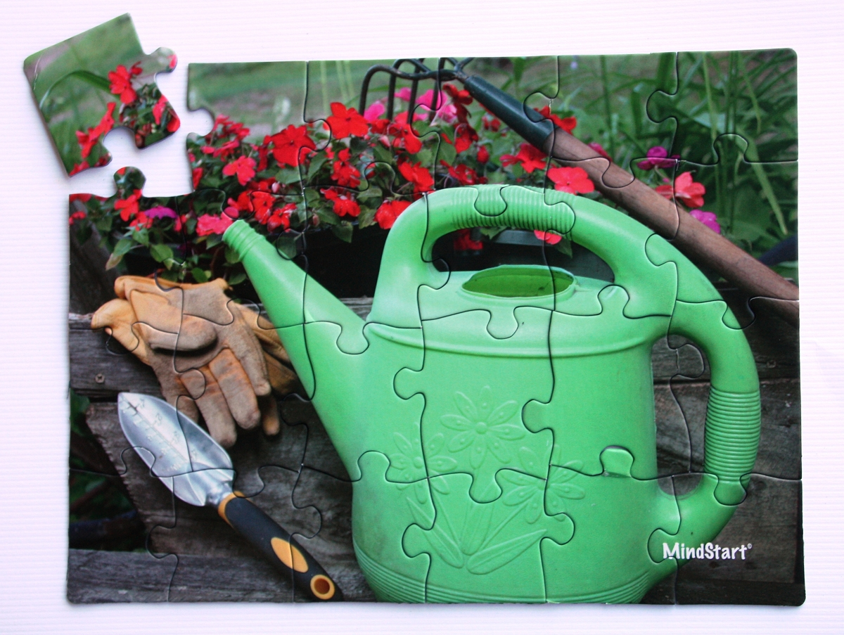 Large piece puzzles are therapy for alzheimer 39 s stroke for Gardening tools crossword