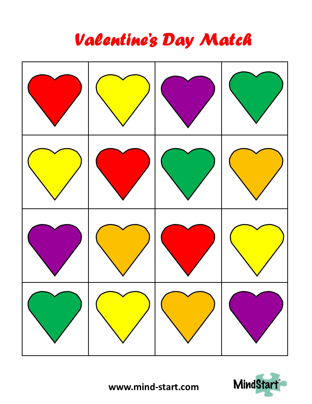 Valentine Match Game for Dementia